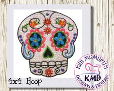 Excited to share this item from my #etsy shop: Embroidery Exclusive Mylar Sugar Skull: Size 4x4, Instant Download, KMDemb Machine Embroidery Design