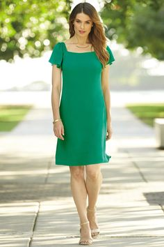 Flutter Sleeve A-Line Dress: Classic Women's Clothing from #ChadwicksofBoston $59.99