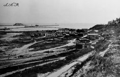 1870's View of Timms' Point, Los Angeles Harbor. Breakwaters and Deadman's Island can be seen in the background.