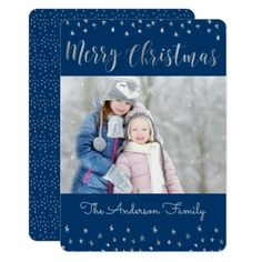 Merry Christmas Blue and Silver Foil Stars Photo Card - create your own gifts personalize cyo custom