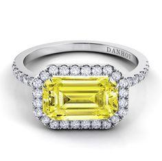 Capri Jewelers Arizona ~ www.caprijewelersaz.com Per Lei single shank with diamond halo - and a yellow diamond! LE105