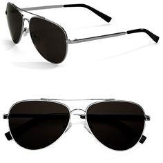 Calvin Klein Aviator 60MM Sunglasses ($79) ❤ liked on Polyvore featuring accessories, eyewear, sunglasses, glasses, black, silver, black sunglasses, calvin klein, aviator sunglasses and aviator style sunglasses
