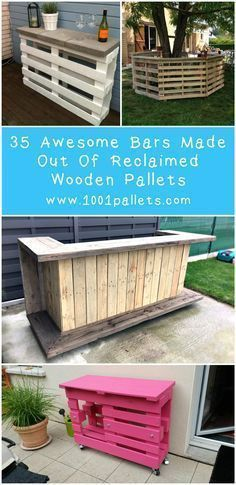 Discover 35 amazing bars made from repurposed pallets. Maybe your nest pallet summer project is there :)