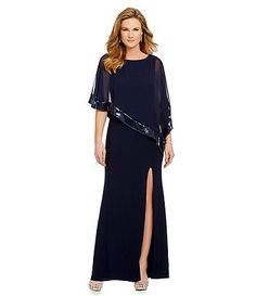 Xscape Sequined Chiffon Overlay Gown
