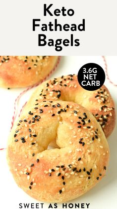 Low Carb Bagels, Keto Bagels, Low Carb Keto, Keto Recipes With Bacon, Low Carb Recipes, Cooking Recipes, Ketogenic Recipes, Diabetic Recipes, Ketogenic Diet