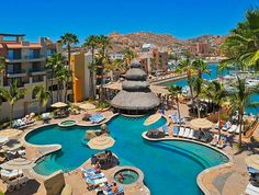 Vacation in the heart of Cabo San Lucas when you stay at Marina Fiesta Resort-located right alongside Cabo's beautiful marina. You're just steps to great restaurants, nightclubs, sunset cruises & activities. Hop on a water taxi to Lover's Beach or just relax in the beautiful swimming pool. #Travel #Mexico