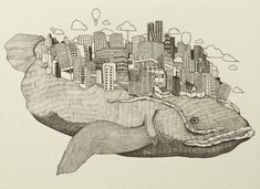 米津玄師さんのイラスト | amenori800のブログ Vocaloid, Art Tips, Diorama, Line Art, Whale, Vintage World Maps, Steampunk, Moose Art, Sketches