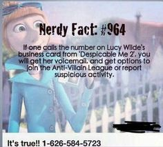 """Call Lucy Wilde From """"Despicable Me at Lucy Wilde, Stupid Funny, Funny Texts, Funny Jokes, That's Hilarious, Disney Animation Studios, Disney Fun Facts, Interesting Disney Facts, Lol"""
