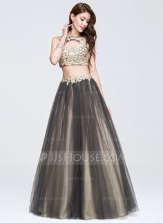9b7cf8435c Ball-Gown Scoop Neck Floor-Length Beading Appliques Lace Zipper Up Regular  Straps Sleeveless No 2016 Other Colors Spring Summer Fall General Plus  Tulle Prom ...