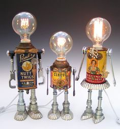 reciclagem robot lamp Water Pumps – All You Want To Know Article Body: Water pumps are instruments, Recycled Robot, Recycled Crafts, Handmade Crafts, Handmade Rugs, Tin Can Crafts, Crafts To Make, Diy Crafts, Tin Can Robots, Tin Can Art