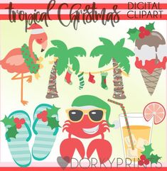 Tropical Christmas Clipart -Personal and Limited Commercial Use- Flamingo, Palm Trees, and Crab clip art Christmas Palm Tree, Tropical Christmas, Beach Christmas, Coastal Christmas, Christmas Door, Little Christmas, Christmas 2019, White Christmas, Christmas Cookies