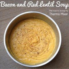 another winner. yummy Bacon and Red Lentil Thermomix from Quick Soup Recipes, Lentil Recipes, Unique Recipes, Cooking Recipes, Lentil And Bacon Soup, Thermomix Soup, Bellini Recipe, Creamy Garlic Chicken, Light Recipes