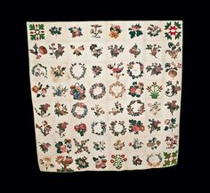 Exceptional 1857-8 Chintz/Cotton Applique Friendship Quilt w/ Pres. Buchanan Inscription