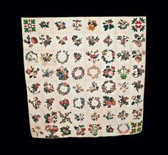 Exceptional 1857-8 Chintz/Cotton Applique Friendship Quilt w/ Pres. Buchanan Inscription