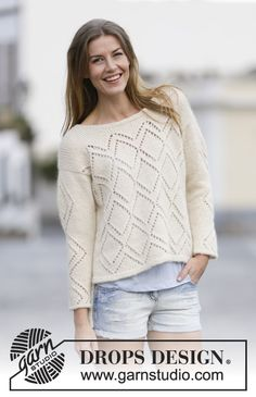 "Knitted DROPS jumper with lace pattern, worked top down in ""Air"". Size S-XXXL. ~ DROPS Design"