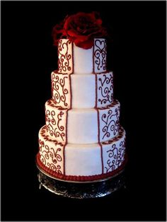 black-and-white-and-red-wedding-cakes-373