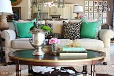colorful pillows dress up a boring couch!