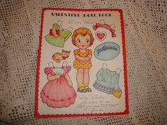 Vintage Valentine Paper Doll Book Greeting Card - Donna Marie -1940s  #americard