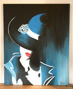 Peinture acrylique 'Dame au chapeau' moderne : Peintures par cindygrosjean