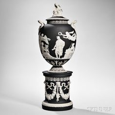 Wedgwood Black Jasper Dip Apotheosis of Virgil Vase and Cover, England, century European Furniture, Wedgwood, Chinoiserie, Jasper, Stoneware, 19th Century, Art Decor, Auction, Pottery