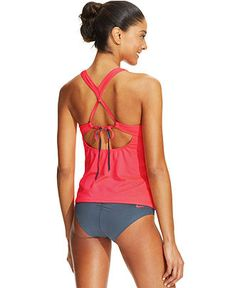 Nike Crisscross Racerback Tankini Top & Ruched Bikini Bottom - Swimwear - Women - Macy's
