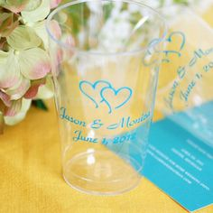 Personalized Clear 12 oz Wedding Party Cups