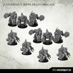 This set includes 10 (TEN) of our finest Juggernaut Mecha-Armours - six armed with Rippa Mega Buzzsaws and four with flamers (if you want dfferent proportions or rocket versions then let us know in the comment field during checkout). Buying this set you save 15% off SRP and in addition you also get free A2 poster with Juggernaut! 40mm round plastic bases included.