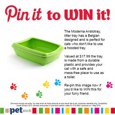 Re-pin this image if you would like to WIN the belgian designed Moderna Aristotray for your feline friend. Actual colour may be different to the image pictured.