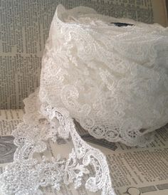 ivory off white lace trim wedding farmhouse chic by ShyMyrtle