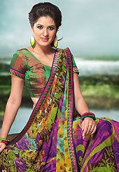 Keep the interest with this printed saree. This multicolor faux georgette saree is nicely designed with floral, abstract, geometric print and patch bordered work. Saree gives you a singular and dissimilar look. Matching blouse is available. Slight color variations are possible due to differing screen and photograph resolution.