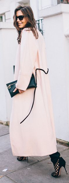 Pink And Black Belt Long Trench