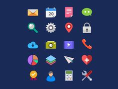 Dribbble - 20 Flat Icons Vector PSD by GraphicsFuel (Rafi)