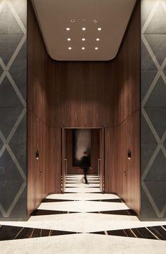 Antonio Citterio is an Italian Interior Designer who has an incredible career already set within the interior design industry. Lobby Interior, Interior Architecture, Modern Interior, Hotel Interiors, Office Interiors, Floor Design, Ceiling Design, Elevator Lobby Design, Hotel Corridor