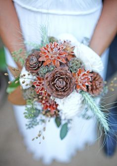rustic and sweet winter bridal bouquet