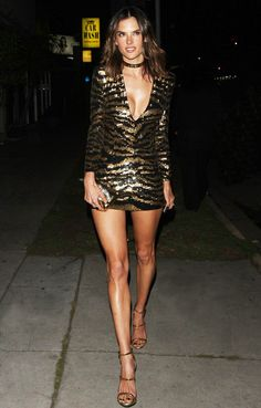 Alessandra Ambrosio steps out to celebrate her birthday in a Balmain Resort 2016 sequins mini dress #BALMAINARMY