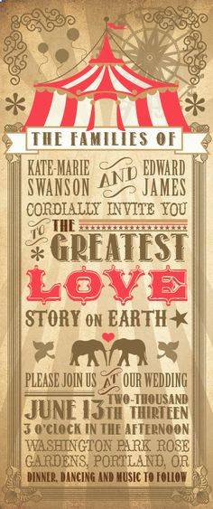 Circus Wedding Invite. Loving this idea... The elephants, so perfect :)