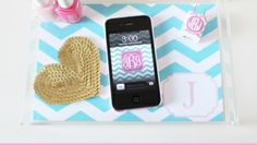 Dress Your Tech: Chevron Monogrammed Phone Wallpaper