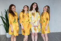 Robes by silkandmore - White Yellow Watercolor Splash Robes for bridesmaids | Getting Ready Bridal Robes, $25 (http://robesbysilkandmore.com/white-yellow-watercolor-splash-robes-for-bridesmaids-getting-ready-bridal-robes/)