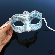 Masquerade Mask, Silver Masquerade Mask, Bridal Masquerade Mask with Venetian Floral Designs w/ Lovely Macramé Lace Bordering - Silver, Teal