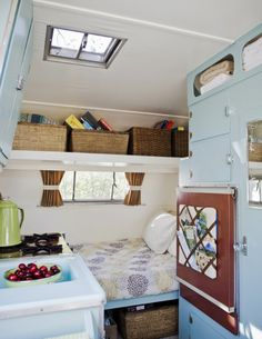 A french memo board in the airstream is a great idea! A house crush on wheels | A blog by Sunset