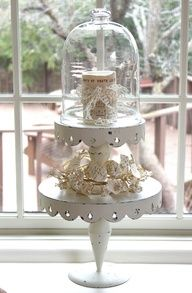 stacked cake stands and cloche