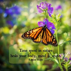 Time spent in nature heals your body, mind and spirit! #body #mind #spirit #healing #nature #butterfly #monarch #beauty #love #katrinamayer #quote www.KatrinaMayer.com
