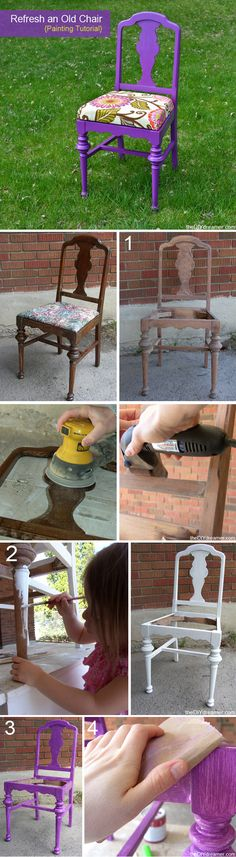to Paint a Chair Tutorial on how to sand and paint an old chair - Tutorial on how to sand and paint an old chair - Furniture Projects, Furniture Making, Furniture Makeover, Diy Furniture, Diy Projects, Chair Makeover, Project Ideas, Furniture Design, Painted Chairs