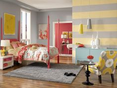 Coral + Golden Yellow + Gray    Traditionally, no girl's bedroom would be complete without a combination of pretty pastels like coral, golden yellow and blue. But what about pastels mixed with gray and black? In this bedroom, gray plays the neutral while black and white act as standout accents.