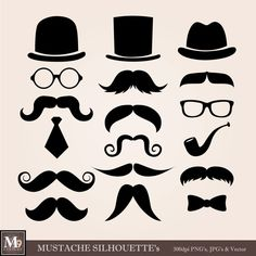 Mustache Theme Clipart Illustrations, INSTANT DOWNLOAD  Clipart of Hat, Mustaches, Eye Glasses, Neck Tie, Bow Tie...Silhlouettes
