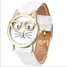 RESTOCKED I love Nerds and Cats watch ➖A watch with a white band with the face being a cat with glasses. The face is 3D and the glasses and such are raised and not drawn in. ❗️perfect for at cat lady : errr lover :) the picture speaks for itself ! ✌️ Entropy Accessories Watches