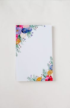 Floral Notepad - Watercolor Painted Flowers - Office Accessories - 5.5' x 8.5' by ShannonKirsten on Etsy #watercolorarts