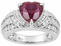 Remy Rotenier For Bella Luce (R) 4.69ctw Rhodium Plated Sterling Silver Winged Heart Ring
