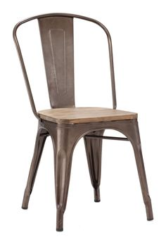 Elio Dining Chair Rusty Elm Wood Top