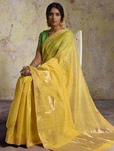 Buy Yellow Chanderi Saree With Zari Cotton Silk Sarees Woven Online at Jaypore.com